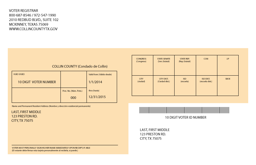 Collin County Elections Info Voter Registration Card